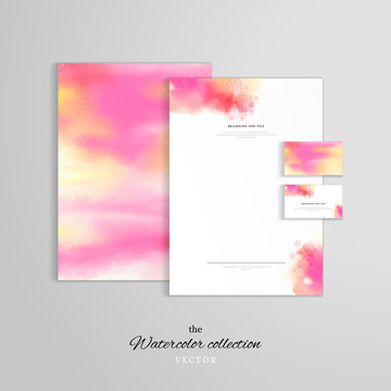 Vector identity templates. Letterhead, folder for documents, business card. Hand drawing watercolor.