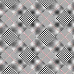 Prince of Wales check pattern in classic black and white with red overcheck. Seamless glen plaid vector texture. Diagonal print.