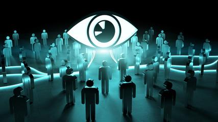 Big eye watching a group of people 3D rendering