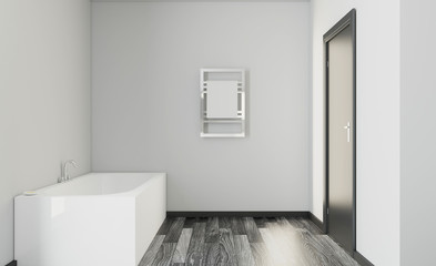 Bathroom interior bathtub. 3D rendering.