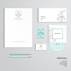 Vector corporate identity templates. Letterhead, envelope, business card, tag, disc with packaging, pencils. Vintage pattern in modern style. Hand drawing poppy flowers and buds. Delicate ornament.