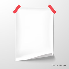 Vector template. White sheet of paper glued with adhesive tape to the wall