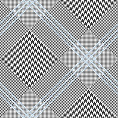 Prince of Wales check pattern in classic black and white with triple blue overcheck. Seamless glen plaid vector texture. Diagonal print.