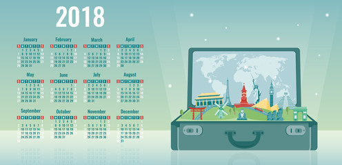 Calendar for 2018 with famous wolrd landmarks. Week Starts Sunday. Vector