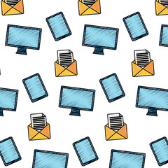 monitor computer tablet email letter message pattern vector illustration drawing image