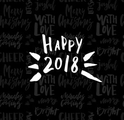 Greeting card with calligraphy Happy New Year. Template for Congratulations, Housewarming posters, Invitations, Photo overlays. Vector illustration