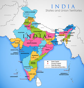 Detailed map of India, Asia with all states and country boundary