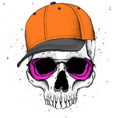Portrait of a skull in a hat. Can be used for printing on T-shirts, flyers, etc. Vector illustration