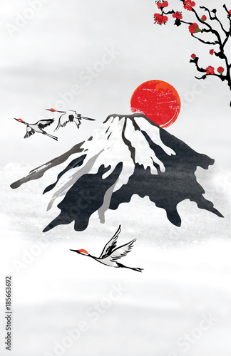 Japanese Style Background For Greeting Cards In The There Is A Stylized Depiction Of