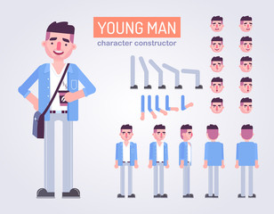 Happy young man character with various views, face emotions, poses . Front, side, back view animated character.Vector clip art
