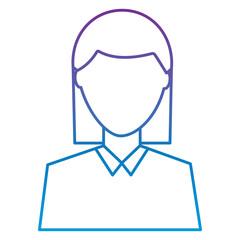 female avatar portrait character woman vector illustration outline color image