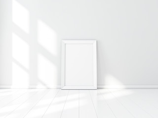Wide Frame Poster Mockup on the floor, for your vertical photo or artwork