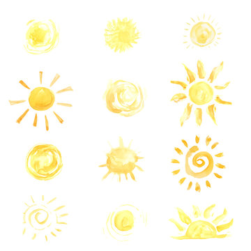 Watercolor sun set vector illustration. Bright yellow color symbol with sunbeams, solar rays.