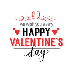 We wish you happy valentines day lettering