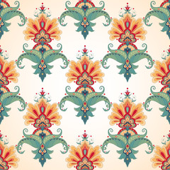 Vector seamless background. Beautiful floral damask pattern in vintage style.