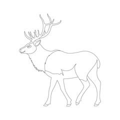 big deer vector illustration   line drawing  profile