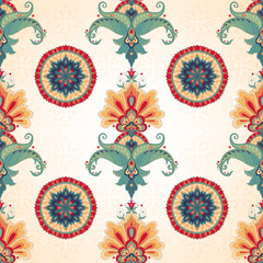 Vector seamless background. Beautiful floral oriental pattern in vintage style. Simple delicate ornament.