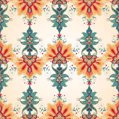 Vector seamless background. Beautiful floral oriental pattern in vintage style.