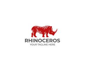 Rhino Logo Template. Rhinoceros Vector Design. Animal Illustration