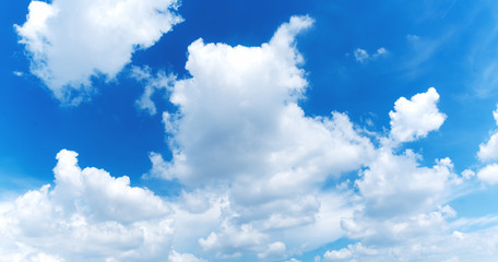 Blue sky and cloud scape. wide angle shot.