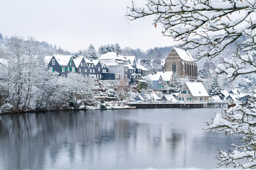 Old Beyenburg in the snow, Wuppertal.