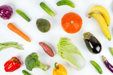 Various Fruits and Vegetable flat lay on white background, Top view