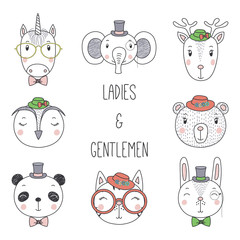 Set of hand drawn cute funny portraits of cat, bear, panda, bunny, reindeer, unicorn, owl, elephant in hats, glasses. Isolated objects on white background. Vector illustration. Design concept for kids