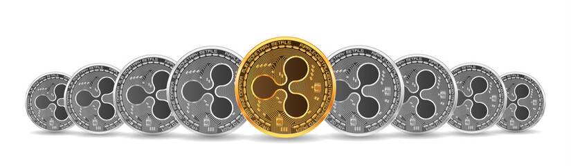 Set of mixed gold and silver crypto currency coins with ripple symbol on obverse isolated on white background. Vector illustration. Use for logos, print products, page and web decor or other design.