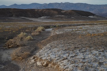 early morning landscape view in Death Valley California near Borax Works