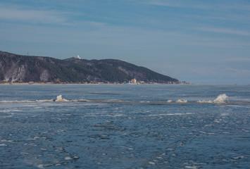 Winter Baikal. ice bound Baikal. boundless distance.