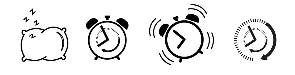 Sleep and wake up Icon set alarm clock, pillow