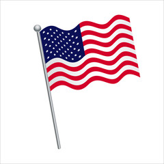 American flag vector Illustration on White background