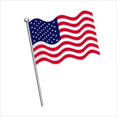 American flag vector Illustration on White background