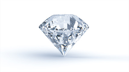 Diamond on white background. 3D render