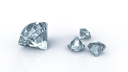Diamonds on reflecting table and white background