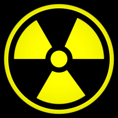 Radioactive Sign Symbol isolated on black background. 3D rendering