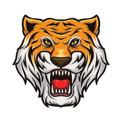 Tiger Head Mascot Vector Logo Icon