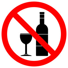 NO ALCOHOL sign. Wine bottle and cup icons in crossed out red circle. Vector.