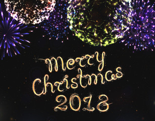 Vector Merry Christmas 2018 text. Glowing background with fireworks and star rains. Abstract Shining Party Background. Flash Light for Christmas Design and New year's illustration.