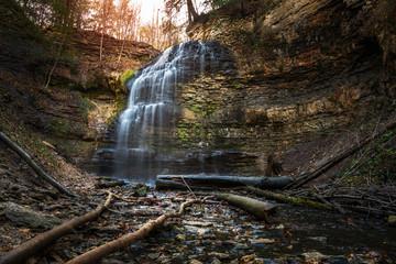 Beautiful Tiffany Falls in Hamilton, ON, Canada, on a Winter Day