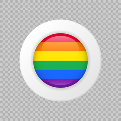 Vector LGBT flag sign on transparent background. Isolated lesbian gay bisexual transgender rainbow circle symbol. Glossy illustration icon for pride parade, sport event, travel, web design, logo