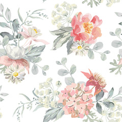 Pink flowers with pearl gray leaves on the white background. Watercolor vector seamless pattern. Romantic illustration. Cottage garden bouquets.