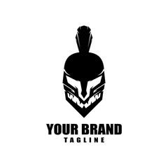 Spartan warrior head logo design vector illustration for your brand identity