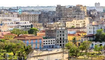View to Malecon street and old city center, Havana, Cuba