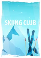 Winter Sport. Ski and Snowboard. Mountain landscape. Snowboarder in motion. Vector illustration.