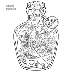 Coloring book for adults. A glass vessel with memories of autumn and love. A bottle with bees,rain, autumn leaves, a cup of coffee or tea, an envelope with flowers and sad mood