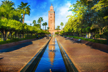 Printed roller blinds Morocco Koutoubia Mosque minaret at medina quarter of Marrakesh, Morocco