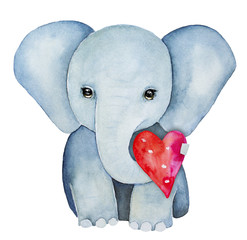 Elephant kid character portrait, holding a red pink heart with trunk. Symbol of beauty, power, dignity, intelligence, good luck and peace. Hand painted water color drawing, isolated, white background.