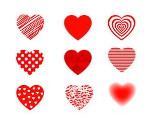 Valentine hearts set