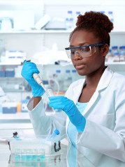 African-american scientist working in laboratory